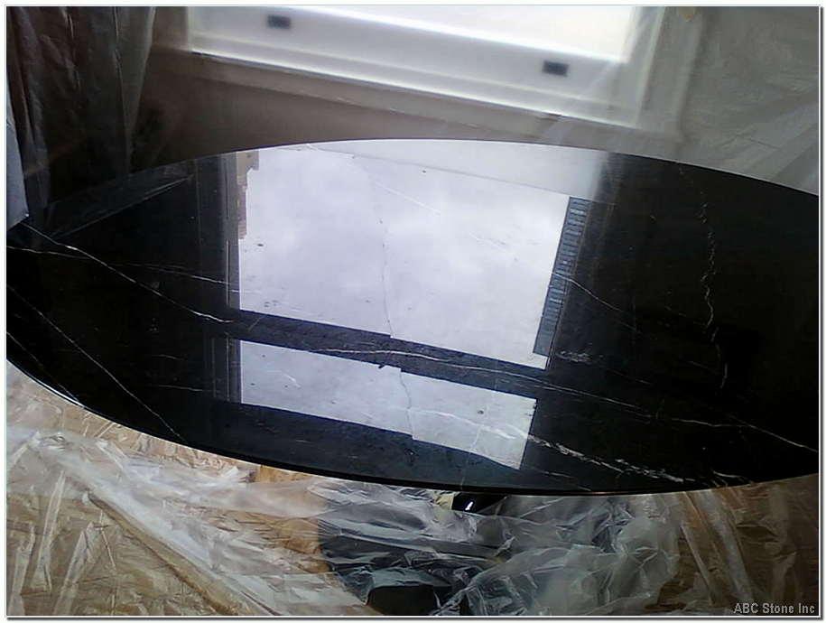 Black Marble Tabletop. Internal Crack
