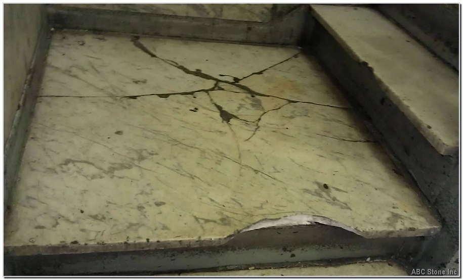 Broken Landing Slab. Steps Restoration
