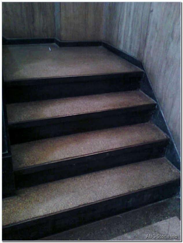 Dirty Terrazzo Steps. Lobby Restoration
