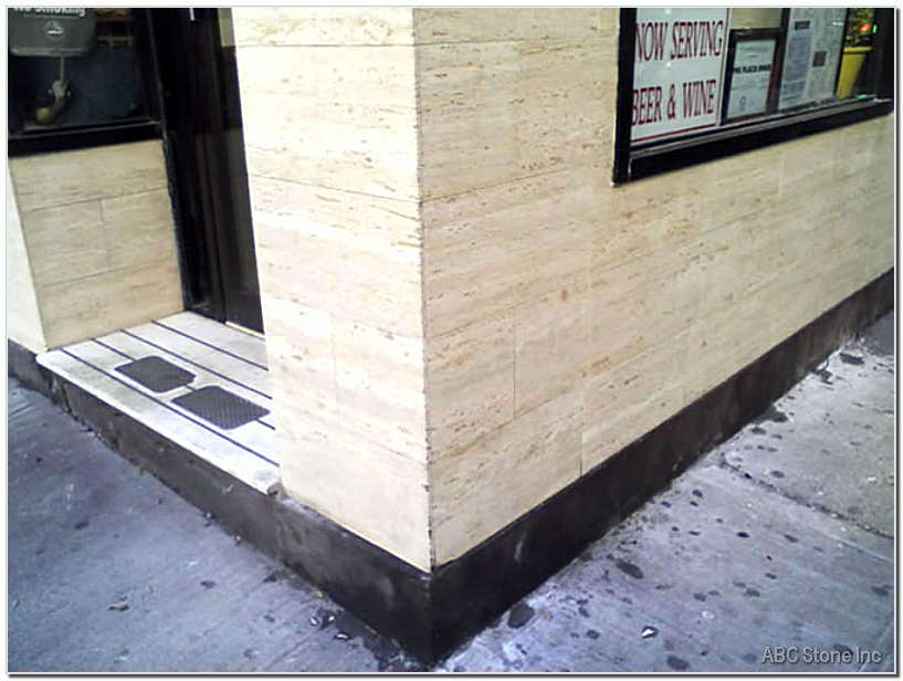 Travertine Storefront Corner. Cleaned and Polished