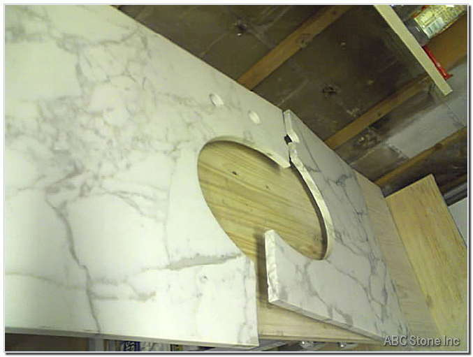 Marble Vanity Crack Repair. Before