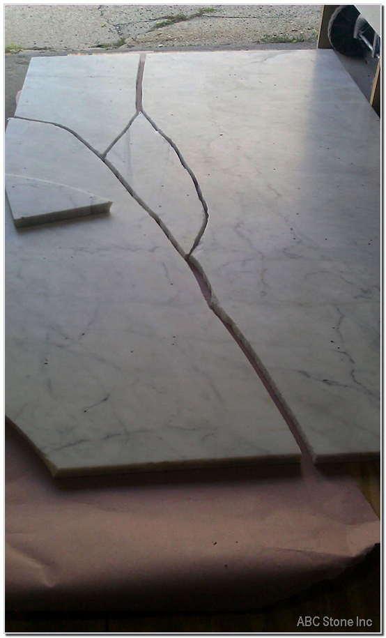 Broken Tabletop. White Carrara Marble